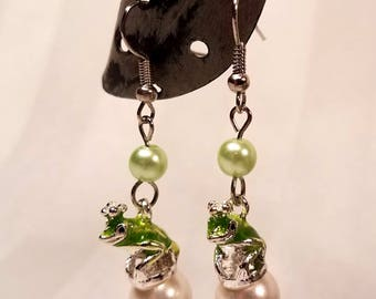 Prince Frog Earrings with Pearls, fishook french hook hypo allergenic earrings gift for her handmade jewellery green glass pearls white