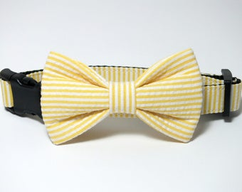 Yellow Seersucker fabric bow tie ONLY for dog/cat collars, pet bow tie, collar bow tie, wedding bow tie