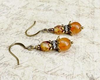Victorian Earrings, Topaz Earrings, Orange Earrings, Brown Earrings, Dainty Earrings,Czech Glass Beads, Antique Gold Earrings, Gifts for Her