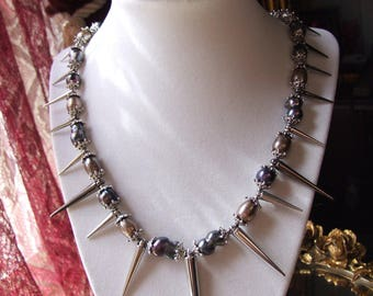Punk Freshwater Black Pearl Spiked Necklace and Earring Set / Prom Spike Necklace Set / Goth Jewelry / Natural Black Pearls