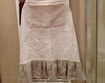 Antique Homespun pure linen apron, pocket, hand fringed linen ruffles. Soft, floppy, lightweight yet strong and durable.