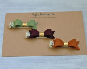 Fall petite hair bow clip set of 3, baby hair clips, Fall hair clips