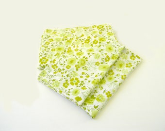 Vintage Green Floral Full Size Flat Sheet with Two Matching Pillow Cases