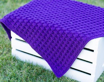 Crochet Baby Blanket | Puffed Shells in Violet