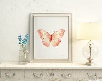 Peach nursery art, Pastel nursery wall art, Cute art Baby girl room wall art, 5x7 Butterfly Light coral girly room Butterfly wall decoration