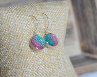 Ying yang colorful dangle earrings, me in you jewelry, teal and pink metallic earrings, wooden dangle earrings, hand painted wood jewelry