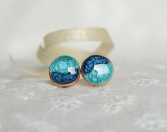 Teal wooden earring studs with sterling silver posts, hand painted round stud earrings, blue post earrings, blue wood ear studs