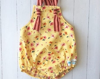 Yellow and Pink Floral Romper , Yellow Baby Romper , Yellow Toddler Romper , Striped Romper , Birthday Outfit , Birthday Romper , Yellow Sun