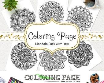 SALE Printable Coloring Page Doodle Mandala Instant Download Adult Coloring Book Download Art Therapy Coloring Pages DIY Printable Wall Art