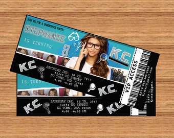 """KC UNDERCOVER Inspiration Birthday Party Ticket Invitation Personalized Printable 3"""" x 7"""" Digital File"""