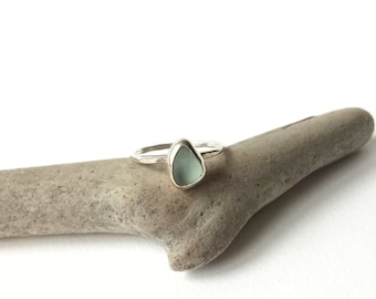 Made to Order - Sterling Seafoam Sea Glass Stackable Ring