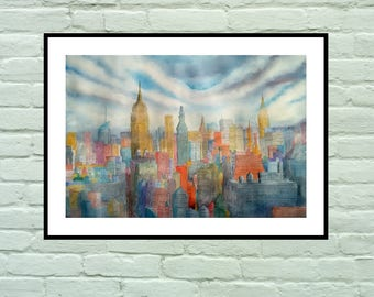 New York cityscape. Original watercolor. Original painting.
