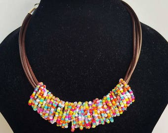 Summer necklace - seedbead necklace - statement necklace - rainbow necklace - multistrand jewelry - bohemian necklace - unique jewelry