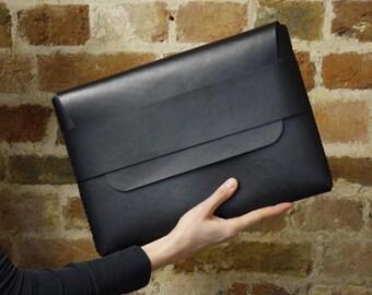 Black Leather MacBook Sleeve - MacBook Pro Sleeve - Laptop Sleeve - Laptop Case - Laptop Bag - MacBook Air Case | by BLUE & GRAE
