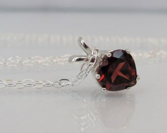 Garnet Heart Necklace, Sterling Silver, 8mm Garnet Gemstone, January Birthstone Jewelry, Garnet Pendant, Valentines Day Gift, Red Necklace