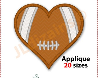 Football Heart Applique Design. Football heart embroidery design. Football applique. Football embroidery. Machine embroidery design