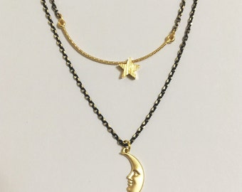 Moon and Stars Gold Necklace, Layered Chains, Modern Minimalist, simple, Elegant, delicate, everyday, tiny small, Space, dainty necklace