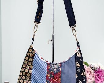 SALE!!! Upcycled shoulder bag made with ties   Denim bag   Long crossbody strap  