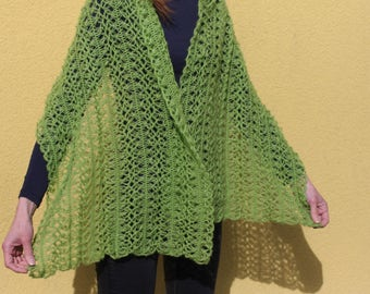 Knitted Shawl - Wrap - Scarf - Apple Green - Handmade - Hand-knitted in Lithuania - Gift for her - Mother's Day Gift