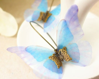 Blue Morpho Butterfly Earrings, Handmade Earrings, Spring Earrings, Fairy Earrings, Butterfly Jewelry, Botanical Earrings, Nature Earrings