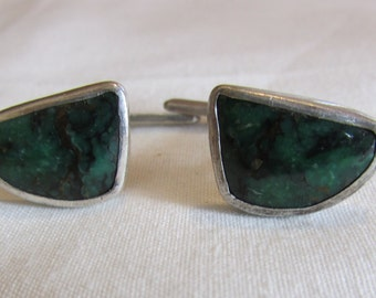 Sterling Silver and Green Stone Handmade Cuff Links