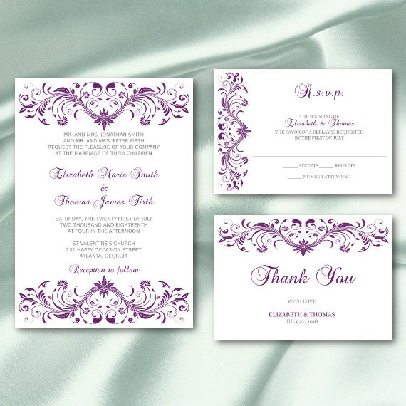 Plum And Silver Wedding Invitations: Printable Wedding Invitation Set Templates Plum Purple Silver
