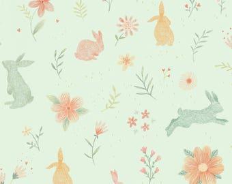 Blue Bunny Fabric Yardage. Bunny Tales Studio E. Spring Fabric. Easter Fabric. Nursery Fabric. Bunny Fabric. Rabbit Fabric. Quilt Fabric.