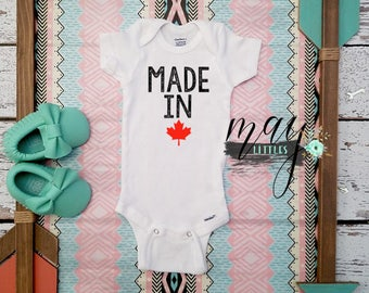Made In Canada Baby Onesie - Canadian Baby Clothes - I Love Canada - Canada Day Baby