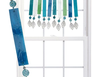 AQUA SWIRL (Blue) Stained Glass Valance Suncatcher - Blue, aqua, silver (AQB)