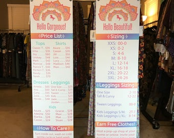 LLR Price List and Size Chart Clothes Flower Rack Banner Vinyl Banner with Metal Grommets  Queue Club Leggings Unicorn Boutique Show Canopy