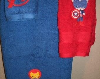 Avenger Kids 3 piece Bath towel, hand towel & Washcloth Personalized Set Super Hero Avengers