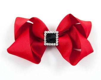 Christmas Hair Bow, Holiday Hair Bow, Santa Hair Bow, Santa Belt Hair Bow, Red Hair Bow, Christmas Bow, Christmas Hair Clip (Item #10428)