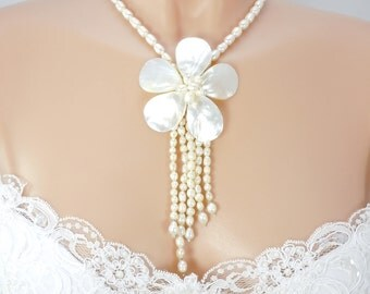 Fresh Water Pearl Shell Necklace, Bridal Necklace, Beach Wedding, Genuine Pearls