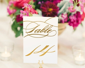 Burgues Gold Foil Table Numbers - Gold Table Number Cards - Two Sided - Wedding Table Numbers with Gold Foil #TN135G