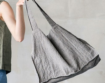 Large natural linen tote bag / linen beach bag in stripes