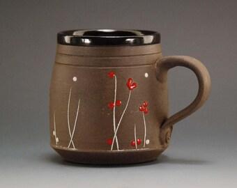 Handmade coffee mug, pottery cup, coffee cup, mug, ceramic coffee mug, pottery mug, pottery coffee mug, cappuccino cup, christmas pottery