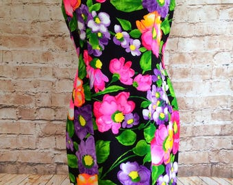 Vintage Dress Charmont Of London By Burkman And Passes Bold Bright Floral Mod Scooter Bohemian Holiday Vacation c1960-70s 44in Bust