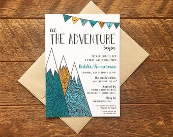 Adventure Theme Baby Shower Invitation, Mountain Baby Shower Invites, Printed Baby Shower Invitation