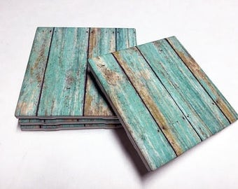 Turquoise Weathered Wood Coasters - Wood Design - Home Decor - Drink Coasters - Tile Coasters - Ceramic Coasters - Table Coasters