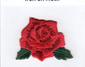 RED ROSE Iron On Applique Flower Motif Patch, Brand New
