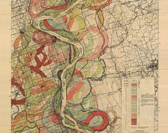 Mississippi River Map by Harold Fisk, 1944 - Plate 22 Sheet 3
