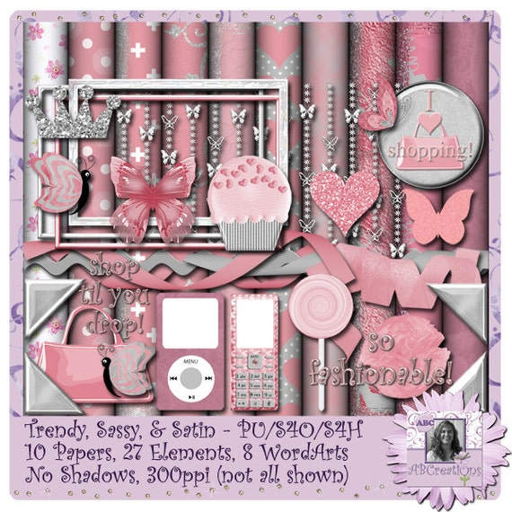 Trendy Sassy and Satin, Valentine, Anniversary, Digital Scrapbooking kit, digiscrap, scrapbook, paper crafting, card making, page kit, craft