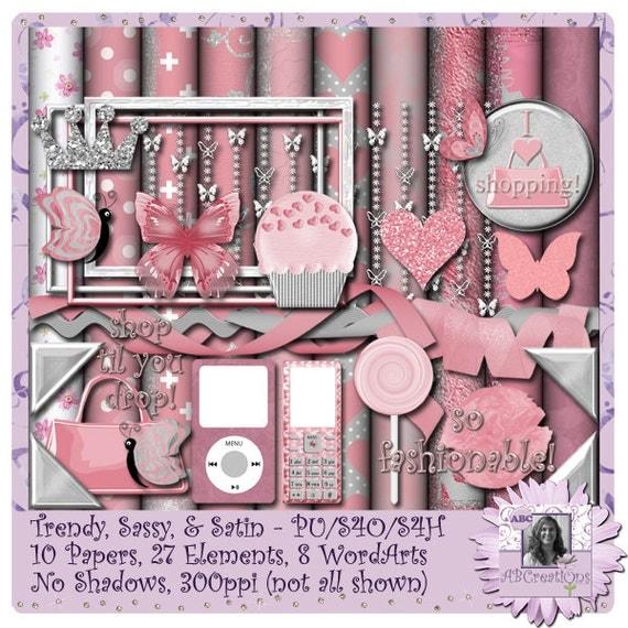 Trendy Sassy and Satin, Valentine, Anniversary, Digital Scrapbooking kit, digiscrap, scrapbook, paper crafting, card making, page kit, craft