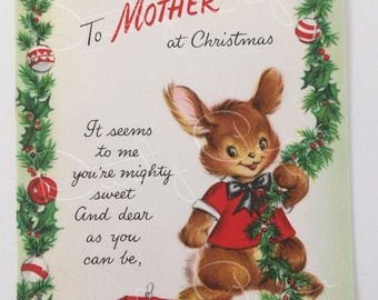 To Mother - Unused Vintage 1950s Hallmark Christmas Card