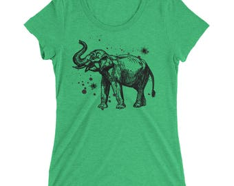 Elephant Tshirt - Elephant T Shirt - Elephant Tee - Graphic Tee For Women - Gift for Her - Ladies Tshirt - Triblend Tshirt