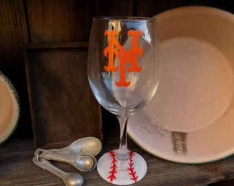 Hand Painted New York Mets Wine Glass