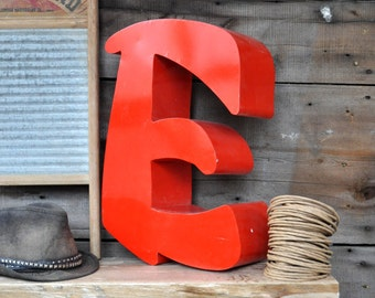 Sign Letters Metal Letters Decor Industrial Salvage Architectural Salvage Letter E Industrial Decor Wall Letters Red Letters Aluminum Letter
