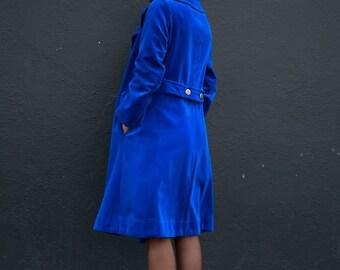 Electric Blue Velvet Coat