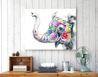 Nursery wall decor, baby elephant wall decor, baby nursery decor, wall art for babies, baby gift, jungle 8x10, nursery art, canvas 16x20