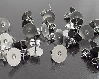 """144 10mm Earring Posts and Backs, Stainless Steel 3/8"""" Posts, Flat Pads, Premium Scalloped Butterfly Clutch,  SF225GR"""
